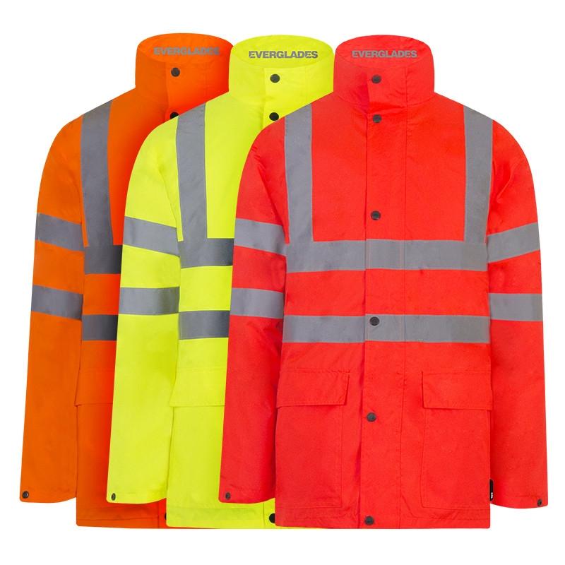 Veste de pluie haute visibilité - EVERGLADES - Orange fluo - Logo Groupe ECORE T2S