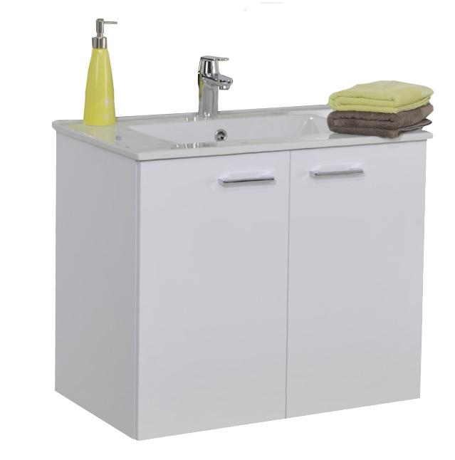 Meuble sous-plan et plan vasque céramique Angelo suspendu 2 portes - 80 cm Néova