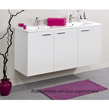 Meuble sous-plan et plan vasque céramique Angelo suspendu 3 portes - 120 cm Néova