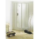 Porte First coulissante 1/4 de rond profil blanc verre transparent