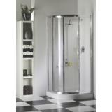 Porte Silver coulissante 1/4 de rond profil chromé verre transparent