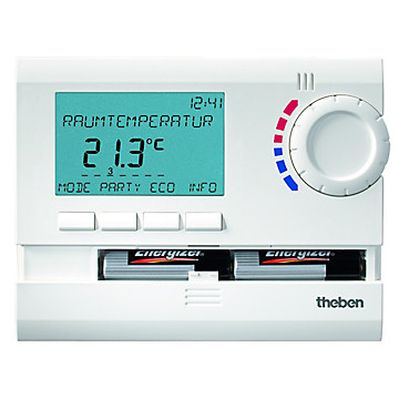 Thermostat programmable digital Ramses 24H 7J à piles Theben