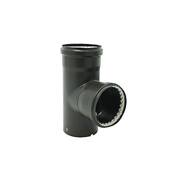 Té à 90° émail noir mat Ø 80 mm pour poêle à granulés Ten