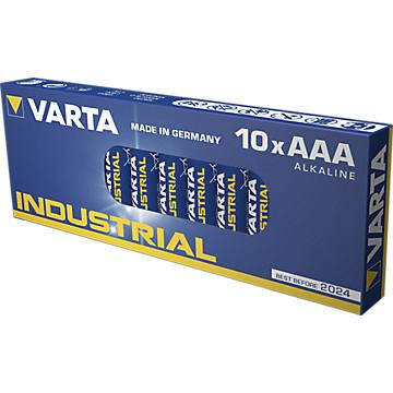 Lot de 10 piles alcalines AAA/LR03 INDUSTRIAL Varta