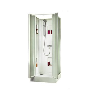 Cabine Izibox Confort carrée porte battante verre granité Leda