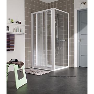 Porte Atout 2 coulissante accès de face profil blanc verre transparent Leda