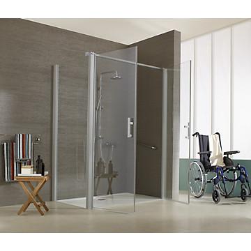 Porte Jazz PMR battante accès de face profil argent mat verre transparent Leda