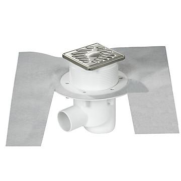 Siphon de sol horizontal grille inox pour revêtement à carreler Nicoll