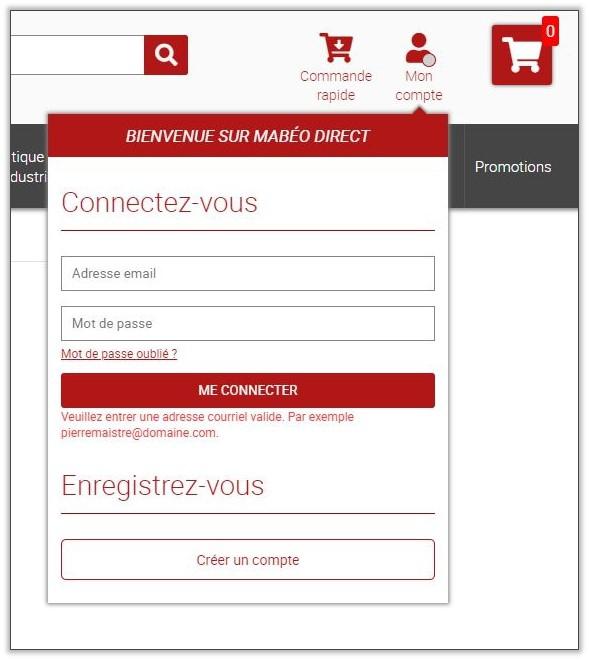 Passer commande sur Mabéo Direct