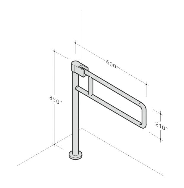 Barre d'appui relevable avec appui au sol nylon 445/PT PBA