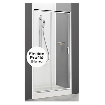 Porte First Maxi coulissante accès de face profil blanc verre transparent MB Expert